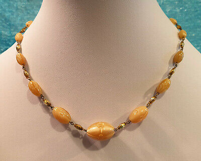 Vintage Original Art Deco Peach Pink Czech Pressed Glass Bead Necklace