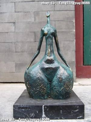 """14""""Great Pure Copper Bronze & Marble abstract Art dancing girl statue"""