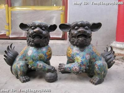 15 Chinese regius Pure Copper Bronze handwork cloisonne palace Foo Dog Lion Pair