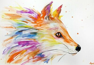 "Watercolor fox original 8""x11"" animal painting abstract art by Angor"