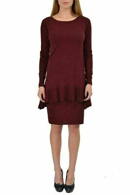 60d215e452 Viktor & Rolf 100% Wool Burgundy Women's Peplum Knitted Dress US S IT 40