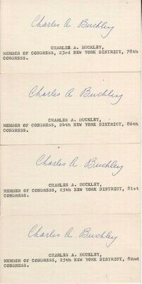 (4) Charles Buckley Autographed Index Cards New York Politician D.67