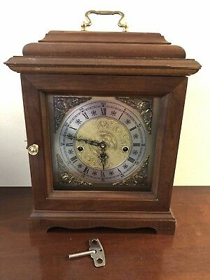 Franz Hermle Triple Westminster Chime 2 Jewel Oak Mantel Clock West Germany VTG