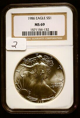 1986 Silver $1 ASE American Eagle NGC MS69 $90 VALUE Blast White Luster (2)