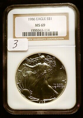1986 Silver $1 ASE American Eagle NGC MS69 $90 VALUE Blast White Luster (3)