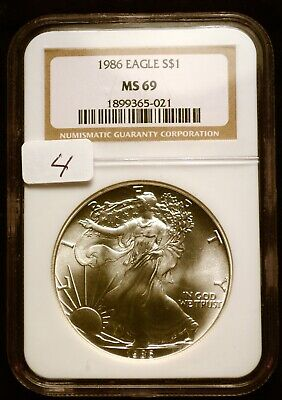 1986 Silver $1 ASE American Eagle NGC MS69 $90 VALUE Blast White Luster (4)