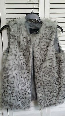 Faux Fur Gray Animal Print Vest by GLAMSIA MED NEW $69.99