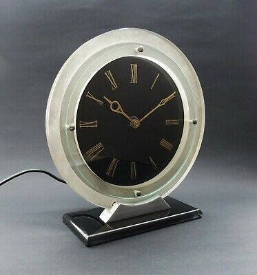 Quality 1930s English Art Deco TEMCO Electric Matel Clock. VGC. Working 220-250v