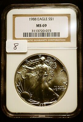 1988 Silver $1 ASE American Eagle NGC MS69 $60 VALUE Blast White Luster (8)