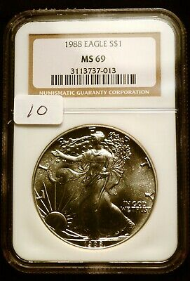 1988 Silver $1 ASE American Eagle NGC MS69 $60 VALUE Blast White Luster (10)