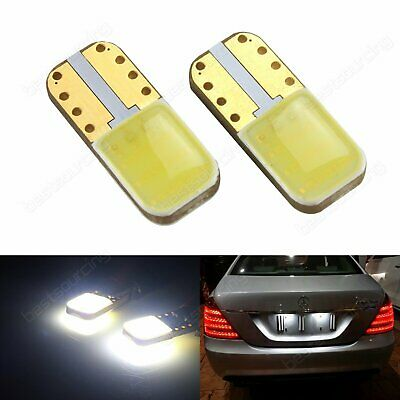2x T10 W5W COB White LED REG License Number Plate Light Bulbs No Error Canbus