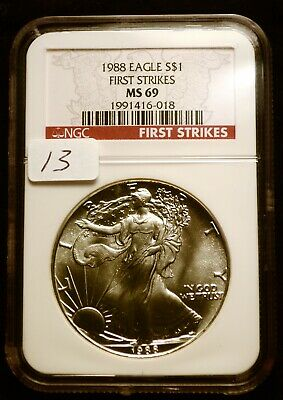 1988 Silver $1 ASE American Eagle NGC MS69 FS $60 VALUE Blast White Luster (13)