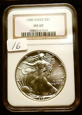 1989 Silver $1 ASE American Eagle NGC MS69 $60 VALUE Blast White Luster (16)