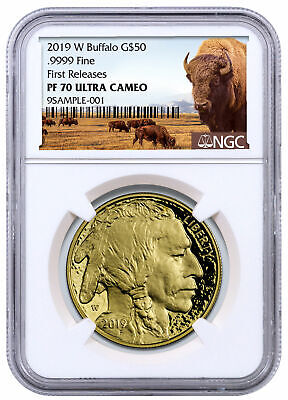 2019W 1 oz American Gold Buffalo Proof $50 NGC PF70 FR Buffalo Label SKU56085