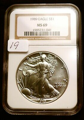 1989 Silver $1 ASE American Eagle NGC MS69 $60 VALUE Blast White Luster (19)