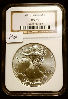 2001 Silver $1 ASE American Eagle NGC MS69 $52 VALUE Blast White Luster (22)