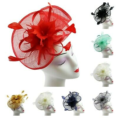 Women Feather Hair Hat Fascinator Headband Clip Wedding Royal Ascot Formal Race