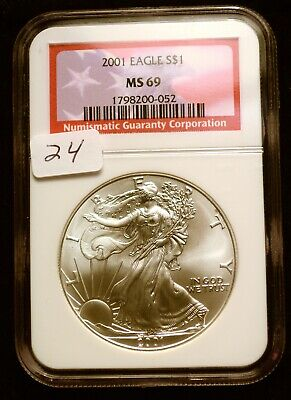 2001 Silver $1 ASE American Eagle NGC MS69 $52 VALUE Blast White Luster (24)