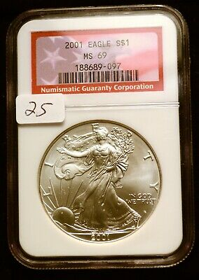 2001 Silver $1 ASE American Eagle NGC MS69 $52 VALUE Blast White Luster (25)