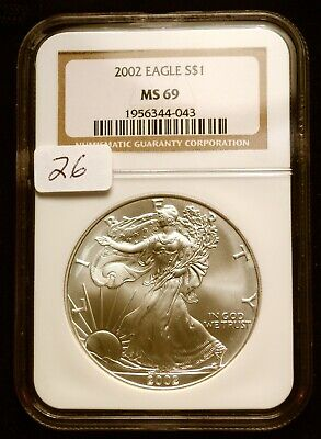 2001 Silver $1 ASE American Eagle NGC MS69 $42 VALUE Blast White Luster (26)