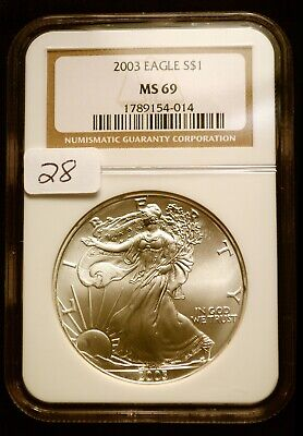2003 Silver $1 ASE American Eagle NGC MS69 $42 VALUE Blast White Luster (28)