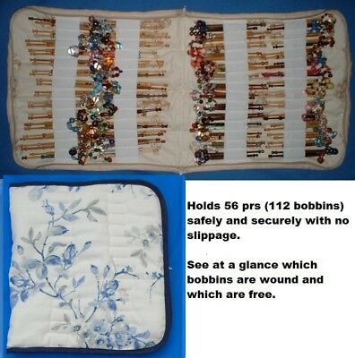 Padded Zip Bobbin Bag Holds 56 Prs Safely And Securely 'Secret Garden' Design
