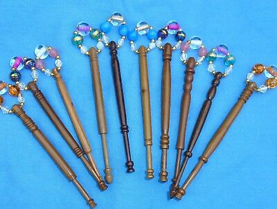 5 Prs (10) Lace Bobbins Spangled With Quality Beads Into Matching Pairs  Dw 2.