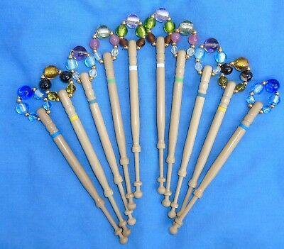 H4.     5 Prs (10) Lemon Wood Lace Bobbins Spangled  With Quality Beads