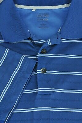 Adidas Climacool Men's Blue Striped Polyester Golf Polo Shirt L Large