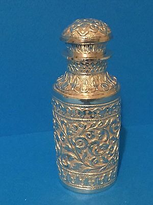 Large Indian Silver Perfume Bottle c1900 Kutch