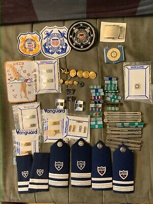 Vintage US Coast Guard Auxiliary Bars,Shoulder Boards,patches,Buttons & More
