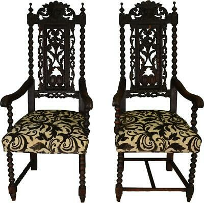 17469 Two High Carved Oak Lion Headed Master Chairs