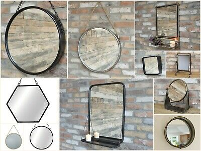 Industrial Vintage Style Mirror Metal Framed Wall and Standing Mirrors