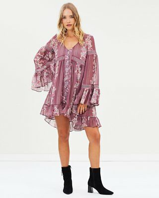 We Are Kindred Free People Heidi Pink Floral Flounced Babydoll Dress M/L $348