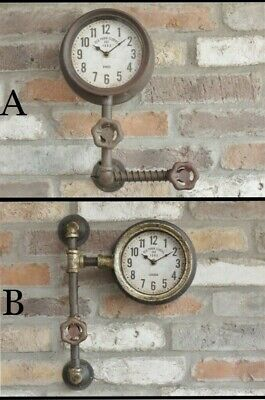 Industrial Vintage Old Style Round Wall Clock Aged Pipe Metal Features