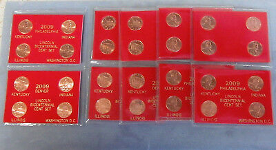 5-2009 Lincoln Bicentennial Penny 8 pc. Sets. P&D Mint-Red Packaging-Great Gift