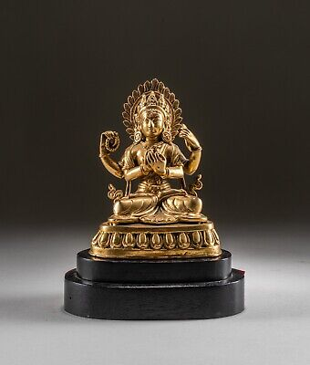 Chinese Antique/Vintage Bronze Buddha On Wood Stand