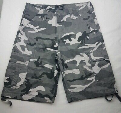 9046b68124 CSG CHAMPS SPORTS GEAR GRAY Camo Cargo Pocket Drawcord Leg Tie Shorts, Size  36