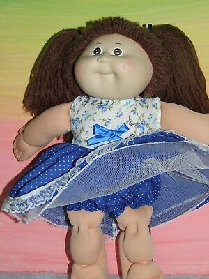 "16"" CABBAGE PATCH Dolls Clothes / navy & white spotted DRESS & BLOOMERS"