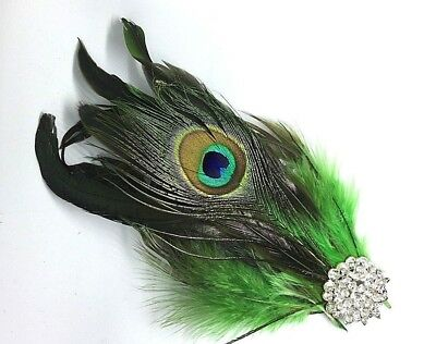 Green Feather  Silver Diamante  Fascinator Hair Clip  Wedding Vintage Headpiece