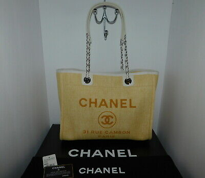 f5b32f1a8c1a CHANEL DEAUVILLE Yellow Grand Shopping Shoulder Bag Tote Authentic A67001  New