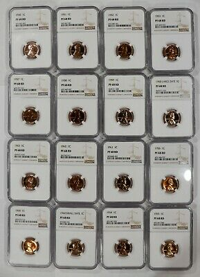 1950-1964 Lincoln Wheat & Memorial Cent Penny Ngc Cert Pf68Rd Proof Set Of 16