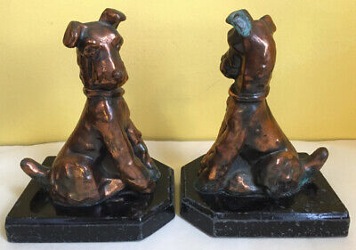 Vintage Wiredhaired Fox Terrier Brass Art Deco Bookends Rare Unique Pair