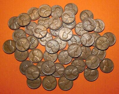 """1944 Mixed PDS Lincoln Wheat Cents Pennies, """"Roll"""" of 50 Loose, Circulated"""