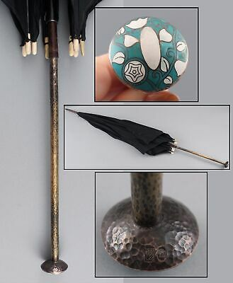 Antique Austria Secessionist WIENER WERKSTATTE Enamel Hammered Copper Umbrella