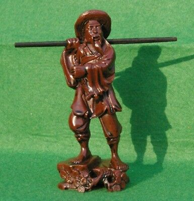 Brown Resin  Figurine Of A Chinese Traveller With Staff