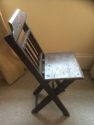 Antique Portable Folding Oak Artists Chair Country Rustic Furniture 19th Century