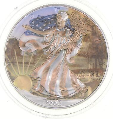 2000 Beautifully Painted/Sticker American Silver Eagle 1 Oz. .999 Fine *849