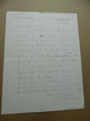 1954 Composer VIRGIL THOMSON Autograph Letter Signed from Chelsea Hotel Original