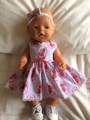 """Doll Clothes to fit 17"""" Baby Born doll ~ Dress & hband  ~ Roses"""